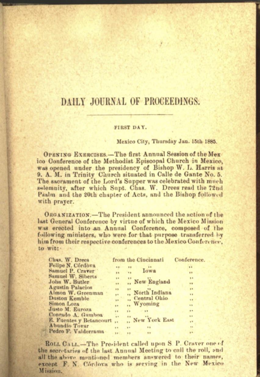 Acta 1er. día CAM, 1884 2