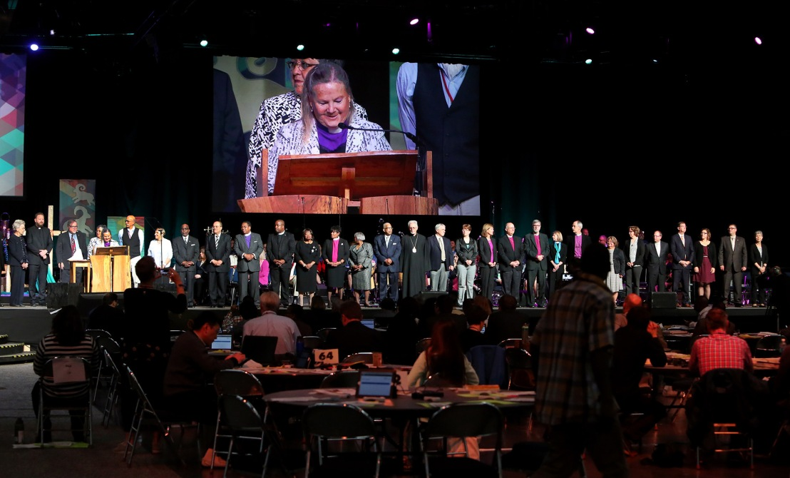 Ecumenical introductions are delivered by Bishop Mary Ann Swenson at the 2016 United Methodist General Conference in Portland, Ore. Photo by Kathleen Barry, UMNS