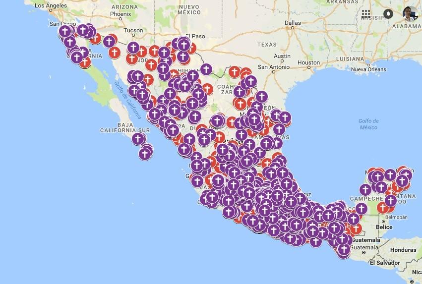 Mapa de feminicidios en México