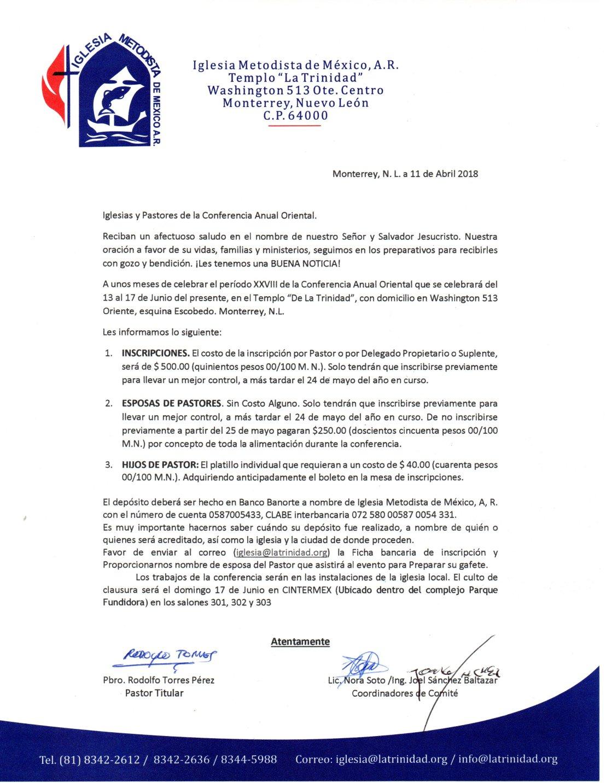 10. Invitación a la XXVIII Conferencia Anual de la CAO