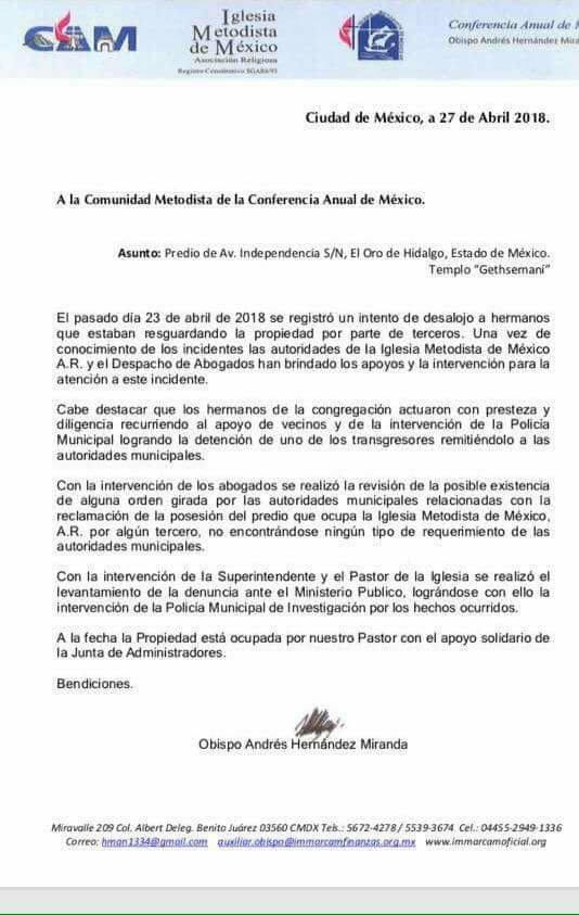 9. Sucesos en la IMMAR Getsemaní, El Oro, Edo. de México - carta